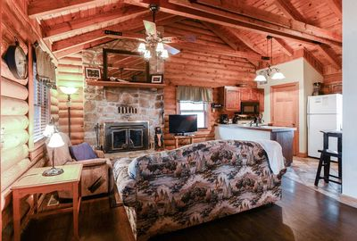 The rustic feel of this modern cabin is perfect for your ozarks getaway.
