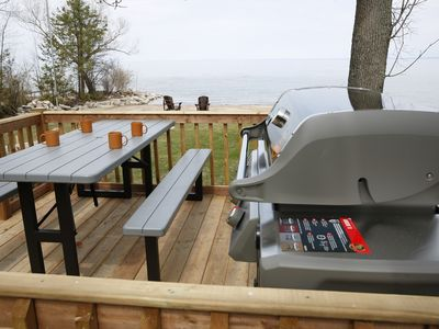 Photo for Private Beachfront , Outdoor Hot Tub. Fire Pit ,4-BR Cottage, Collingwood/Blue