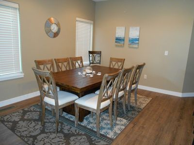 Open floorplan with separate dining area.