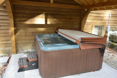 New covered hot tub. A great way to relax after a fun day of adventures!