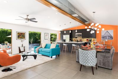 Enjoy this open, colorful space for socializing, dinning or cooking.