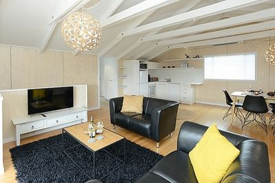 Modern open plan living area, dining and kitchen