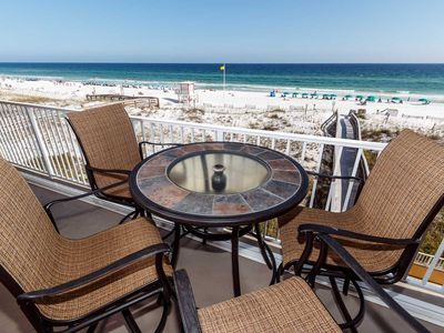 Plenty of comfortable seating and picturesque gulf views make up - Plenty of comfortable seating and picturesque gulf views make up this balcony oasis!