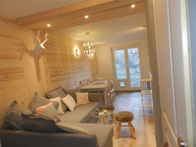 Photo for Nice cocooning duplex of 50 m2 on ski slope, renovated, WIFI