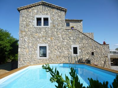 Photo for Detached stone house, great views, 10 minutes from the river, private pool