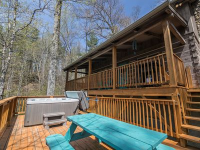 Photo for Among the Trees - Valle Crucis Cabin with hot tub, Pool Table, Pond, Fire pit