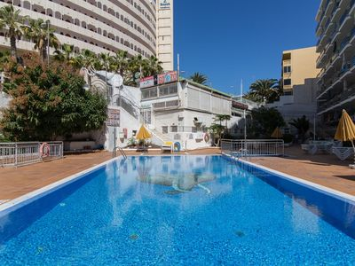 Photo for Cosy Apartment with Balcony, Pool, and Wi-Fi; Close to Beach
