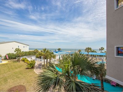 Photo for Two Bedroom Condo with Private Balcony Overlooking Ocean & Pools, On-Site Restaurant, Pet Friendly