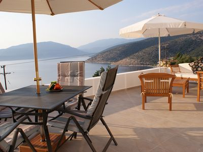 Photo for Pretty villa with private pool and panoramic sea views - edge of Agia Efimia