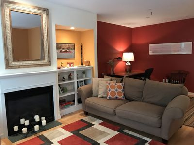 Comfortable living area to chat, read a book, watch a movie or sports.