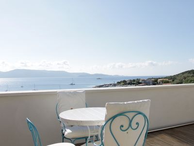 Photo for panoramic terrace on the Gulf of Valinco - 80m from the beach in Porto Pollo