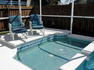 Separate heated children's wadding pool and sun deck.