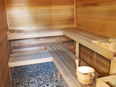The castlesauna game room and funspecial vrbo centerpiece of our spa is our sauna adjacent bathroom with fridge music altavistaventures Images