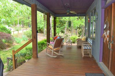 Front Porch, where everyone gathers for coffee or drinks, and talk, all day long