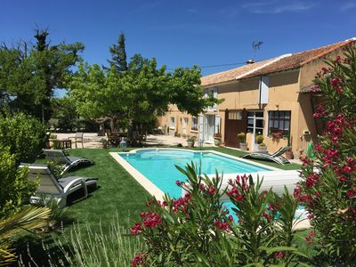 Photo for In the vineyards between Avignon and Orange renovated Mas for exclusive use with swimming pool