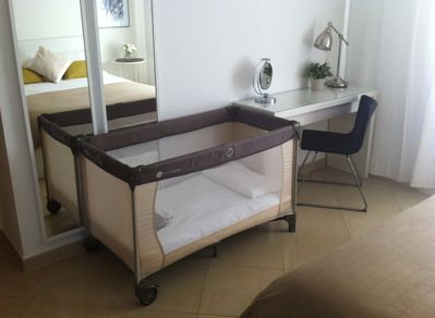 A nice crib to give your little one the comfort of home (available if required)