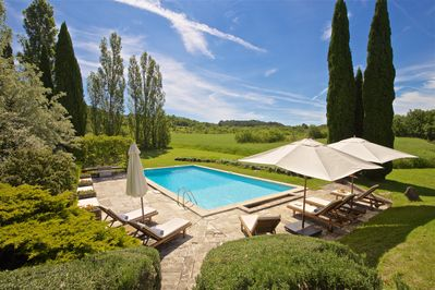 Large heated pool with beautiful surroundings and no neighbours