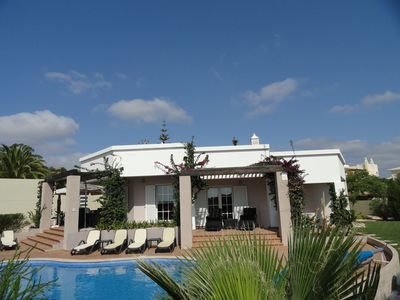 Photo for Beautiful modern villa with heated pool, sky tv, free wifi and enclosed gardens