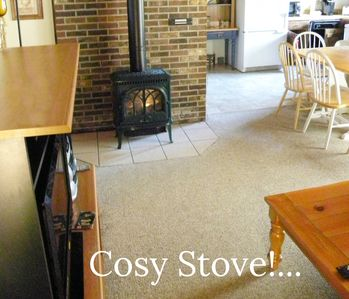 Plenty of ambience and warmth from our Jotul gas stove..