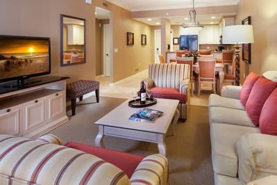 Sit back and relax in the elegant living area after a great day.