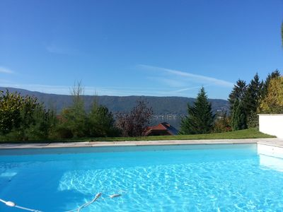Photo for Lake Annecy magnificent new villa standing in front of the lake with stunning vi