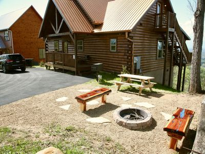 Photo for Brand New All Wood Luxury Cabin With Unbelievable Mountain Views From Your Deck