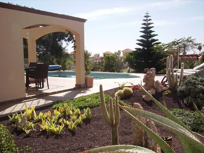 View of pool from side garden