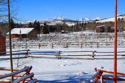 Beautiful view of the Grand Tetons from the front porch