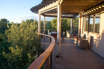 Deck provides multiple areas for socializing and viewing two mountain ranges