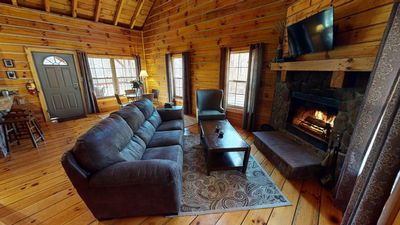 Photo for Rustic Chic Getaway Cabin equipped with Hot Tub, trails on property, private!