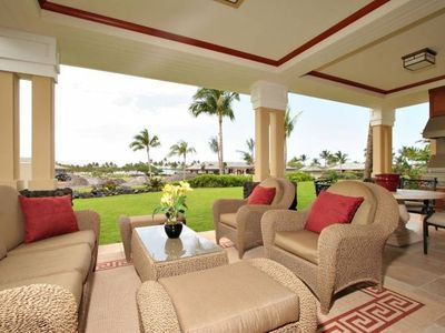 Lanai area with comfy seating and BBQ