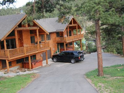 Photo for Luxury Mountain Cabin with mountain and river views.  Private Hot tub