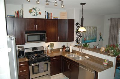 All stainless steel appliances, double sink, fully stocked for cooking!