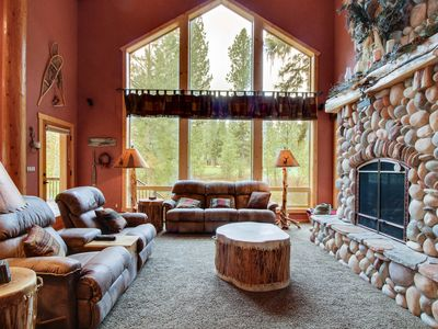 Photo for Luxurious log cabin w/ backyard golf course access! 4 mi. to Zim's Hot Springs!