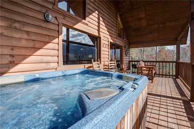All This, and A Hot Tub Too! - In the fresh mountain air and sunshine but completely private, the hot tub on the back porch may become your favorite feature of Bearway to Heaven. Sheer bliss!