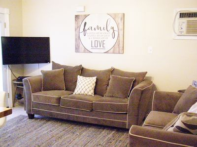 Enter directly into this cozy Living Room.  Sofa is a sleeper for 2 persons