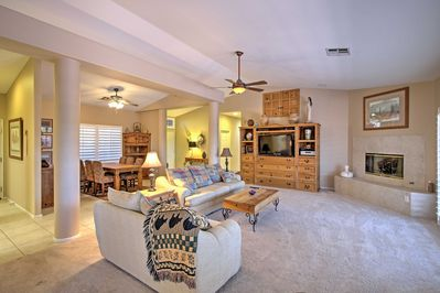 This home offers comfortable accommodations for 6 guests on a La Quinta getaway.