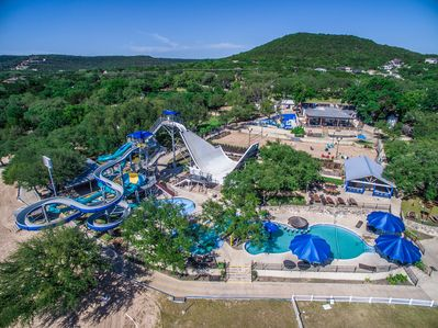 Amazing scenery from our boutique waterpark in the hill country.
