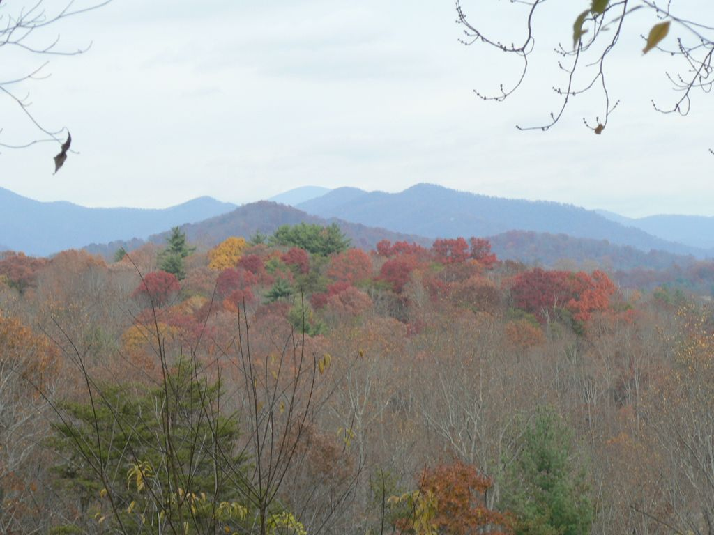 View To Blue Ridge Mountain Range In Fall Color From Deck