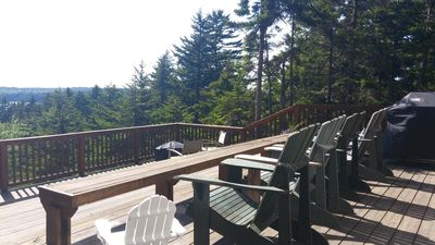 BBQ, Adirondack chairs for adults & children, bench seating & fire pit