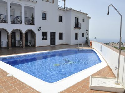 Photo for Frigiliana: 2 bedroom apartment with sea views, swimming pool and parking