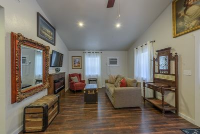 Living Room, TV, Fireplace, A/C, Sofa with hide-a-bed
