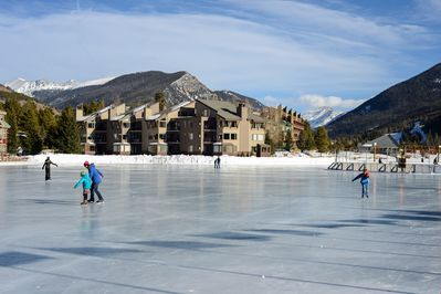 During the winter, Keystone Lake is transformed into an ice rink