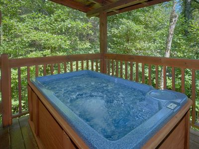 Photo for The Mountains are calling!! Come see us soon!! jacuzzi, Hot Tub, Fishing pond, Private Mtn Cabin