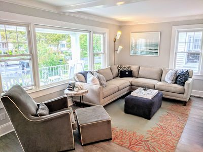 Several sitting areas in open concept layout
