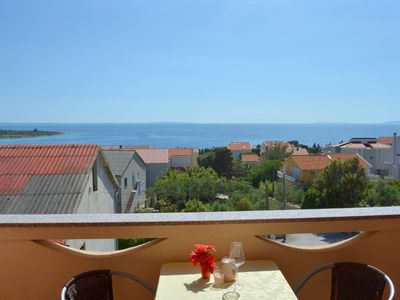 Photo for In Novalja central apartment with sea view and bus stop next door