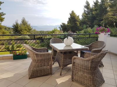 Photo for Very chic holiday home at the sea, terrace and garden, Wifi | Paliouri, Chalkidi