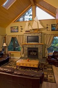 Fireplace TV and Sailboats