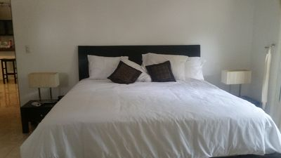 Brand new king size bed in master