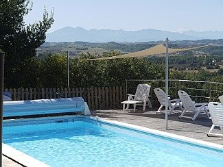 Poolside looking over the Pyrenees